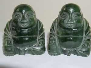 2 CARVED GREEN STONE CHINESE BUDDHAS - JADE STYLE - L@@K