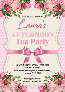 details about 10 x personalised afternoon tea party birthday invitations and thank you cards