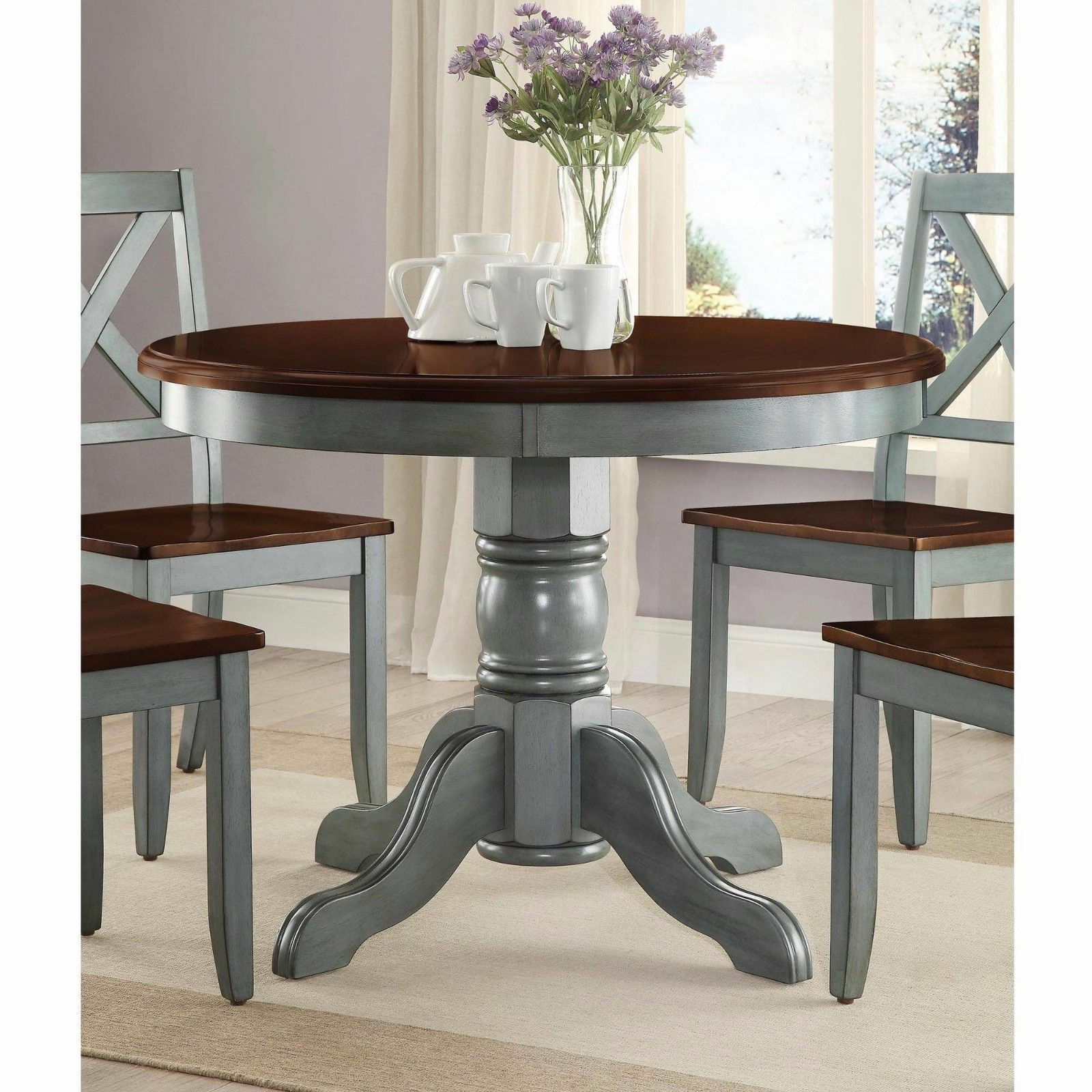 Farmhouse Solid Wood Dining Table Round Pedestal Antique Blue Brown Kitchen For Sale Online