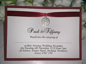 Details About Wedding Invites Burgundy Ribbon Card With Silver Tree Of Life Charm 100