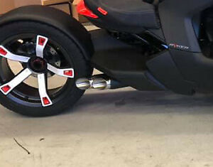 details about 2019 2021 can am ryker rls exhaust twin kaos performance exhaust black polished