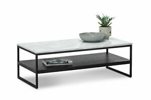 details about white marble coffee table rectangular with storage shelf in matte black metal