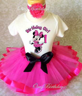 Minnie Mouse Hot Pink Black Baby Girl 1st First Birthday Tutu Outfit Shirt Set Ebay