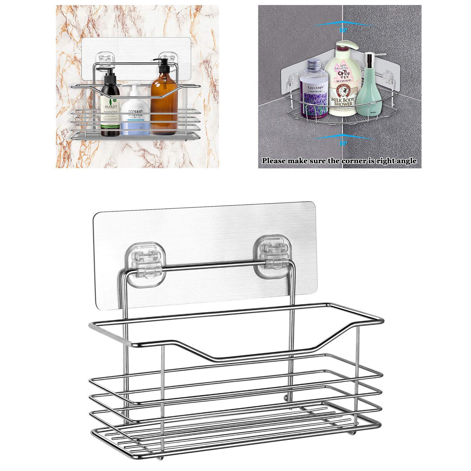 Stainless Steel Rack Storage Organizer Holder Shelf Kitchen Bathroom Wall Mount