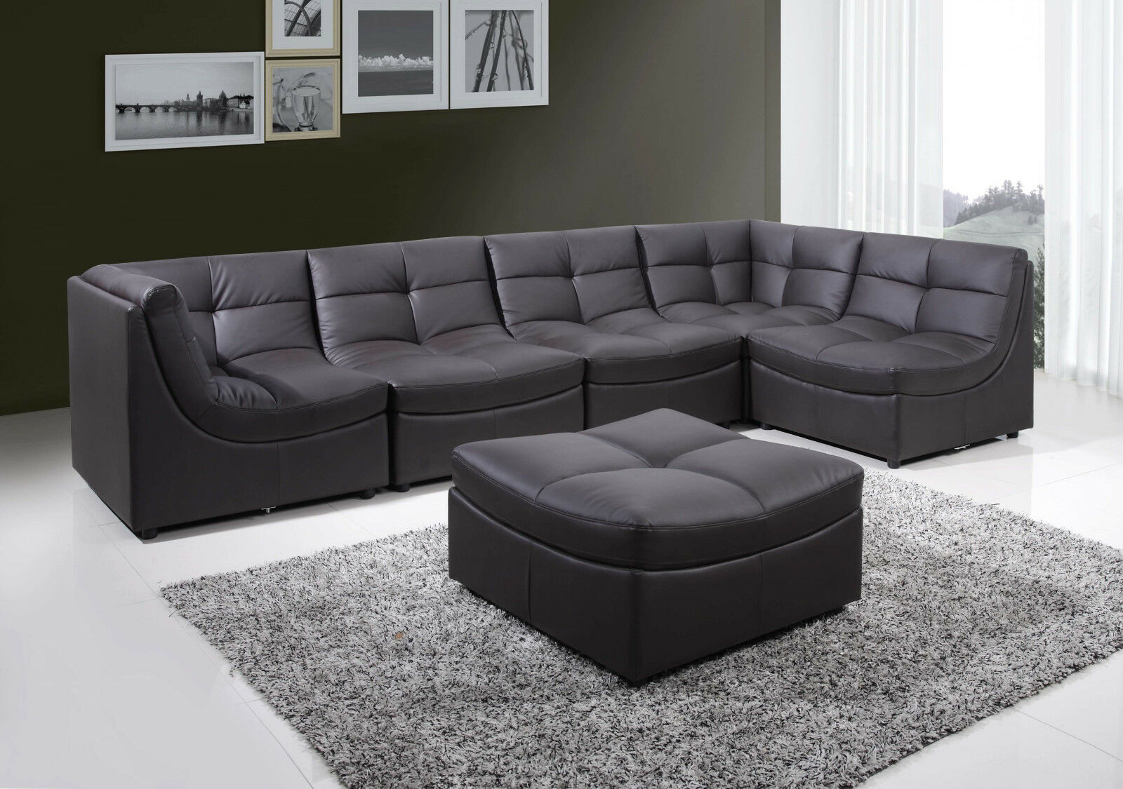 5pc modular sectional sofa bonded leather in cloud brown living room furniture