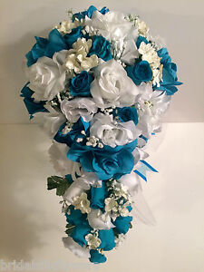 Malibu Turquoise White Silk Flower Wedding Bridal Bouquet Cascade     Image is loading Malibu Turquoise White Silk Flower Wedding Bridal Bouquet