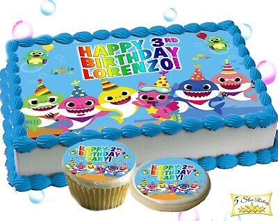 Baby Shark Edible Birthday Cake Topper Cupcakes Cookie Tops Sugar Paper Image Ebay