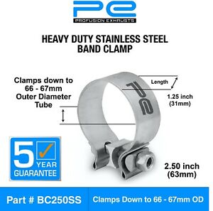 details about exhaust band clamp 2 5 inch 63mm 66 67mm heavy duty stainless steel clamp