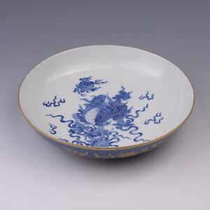 Antique Chinese Blue and White Porcelain Plate Dish with Kylin
