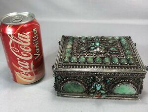 Museum Quality Asian Chinese Tibetan Buddha Box Inlaid w Jade Coral Turquoise