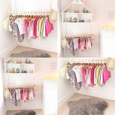 childrens wooden beaded hanging clothes rail nursery bedroom wardrobe storage ebay