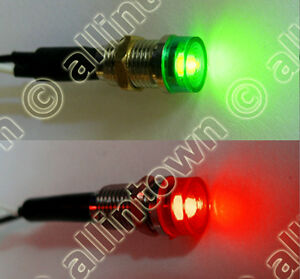 12v Red Green LED Indicator Lights Pilot Dash Light | eBay