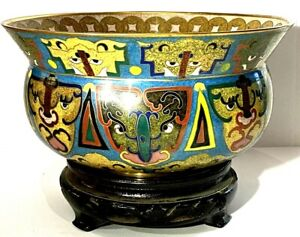 Beautiful Antique CHINESE Cloisonne Bowl ARCHAISTIC - TAOTIE MASK - LUCKY COIN