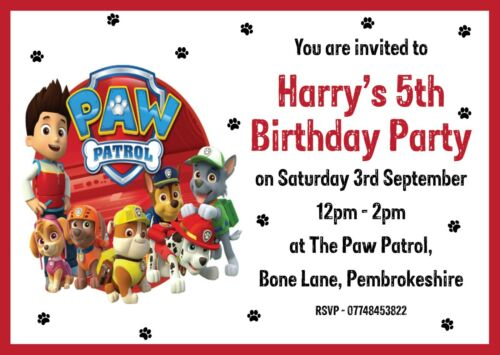paw patrol birthday party invitations personalised greeting cards invitations home garden pumpenscout de