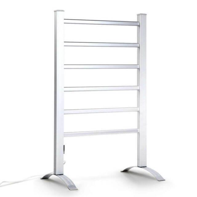 devanti electric heated warm freestanding aluminium 6 rack towel rail