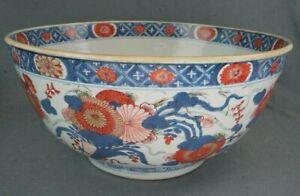 18th Century Kangxi Chinese Imari Export 14 Inch Diameter Punch Bowl