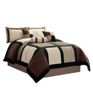 details about 7 pc king brown taupe micro suede patchwork comforter set bed in a bag bedding