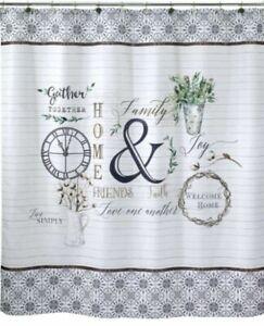 details about avanti modern farmhouse 1pc fabric shower curtain print 72x72 multi nip