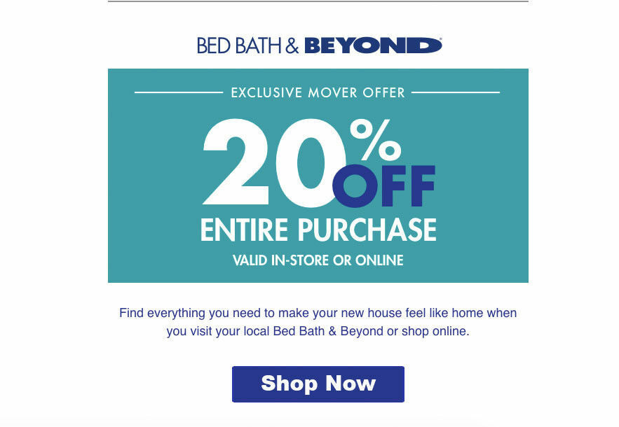 Bed Bath and Beyond  20% Off Entire Purchase 1coupon – expires  02-10-2020