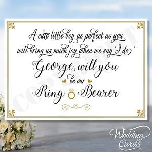 Details About Will You Be Our Page Boy Ring Bearer Personalised Invite Invitation Wedding Card