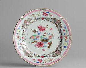 Antique Chinese 18c Yongzheng Famille Rose Porcelain Plate China Qing