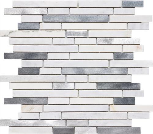 flooring tiles white calacatta marble brushed aluminum mosaic backsplash tile 1 sheet floor wall tiles