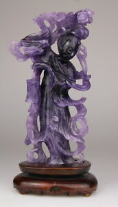 Antique Chinese Carved Amethyst Statue Kwanyin Lady Figure Wood Stand 19th Qing
