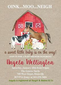 Details About Farm Animal Horse Cow Pig Barn Baby Shower Invitation