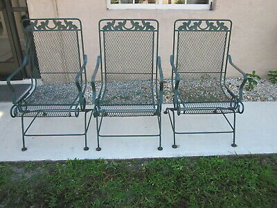 vintage russell woodard sculpture wire spring recliner patio chairs three ebay