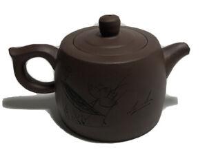 Chinese Carved Yixing Zisha Clay Ceramic Teapot with Yang Wanli Poem