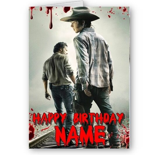 Personalised Name Walking Dead Rick Carl A5 Happy Birthday Card For Sale Online Ebay