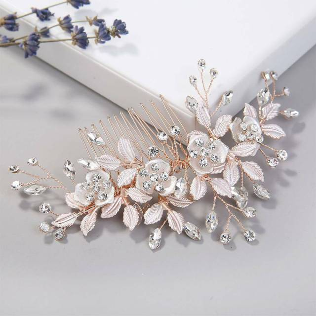 women rose gold rhinestone hair combs leaf flower bride headdress wedding bridal