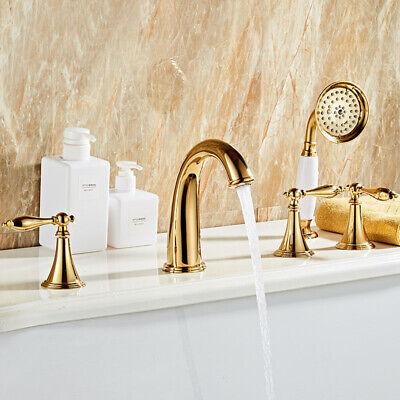 luxury gold bathtub faucet deck mount 5 hole roman tub faucet with hand shower