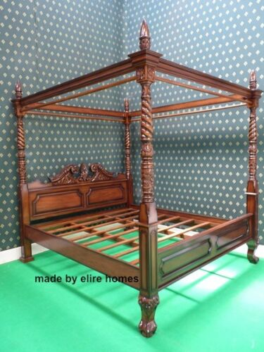 uk stock super king size mahogany wood queen anne style four poster canopy bed