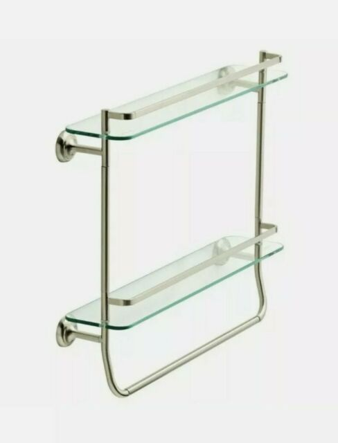 delta 4 in rectangle double glass shelf with towel bar rack in brushed nickel