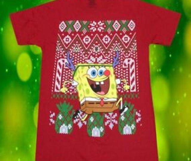 Image Is Loading New Nickelodeon Sponge Bob Square Pants Ugly Christmas