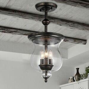details about hanging lantern chandelier semi flush mount light farmhouse ceiling fixture rb