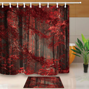 details about autumn red leaves tree forest bathroom shower curtain waterproof fabric 12 hooks