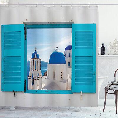 window view of santorini greece church dome sea image decor shower curtain set ebay