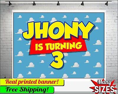 Toy Story Personalisiert Happy Birthday Party Vinyl Banner Angepasst Ebay