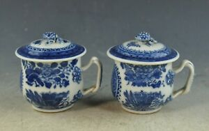 Pair Of Antiqu Chinese Export Porcelain Blue and White Canton Cups