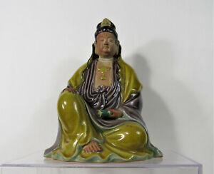Chinese Sancai Glazed Terracotta Pottery Guanyin