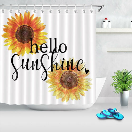 shower bathtub accessories hello sunshine paint sunflower blossom waterproof fabric shower curtain set 72 shower curtains