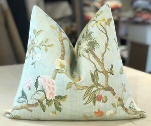 details about one scalamandre colony sky blue melograno italian lampas custom lumbar pillow