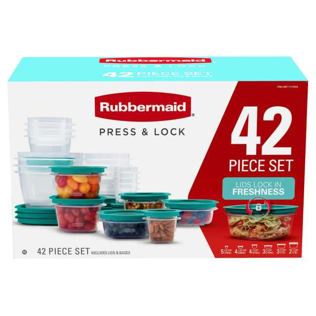 RUBBERMAID PRESS AND LOCK 42 PIECE EASY FIND LID CONTAINERS SET 199 NEW 2