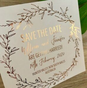 Details About Rose Gold Foil Save The Date Invitation Wedding Sample Rustic