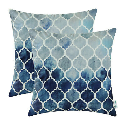 2pcs grey navy blue cushion covers shells geometric trellis chains decor 45x45cm ebay