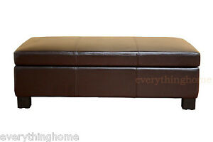 details about dark brown large leather storage ottoman rectangle coffee table bench