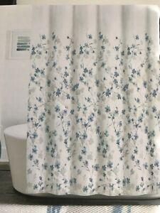 details about dkny shower curtain prospect floral aqua blue white gray 72 x 72