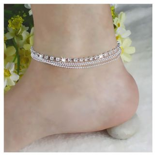 Girl-Women-925-Silver-Plated-Crystal-Chain-Bangle-Cuff-Charm-Bracelet-Jewelry